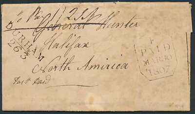 1807 Trans-Atlantic SFL, Shotleyfield to Halifax, 2 Page Letter, ex Arnell