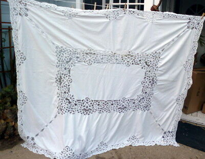 "LOVELY Vintage BATTENBURG TAPE LACE 90"" TABLECLOTH"