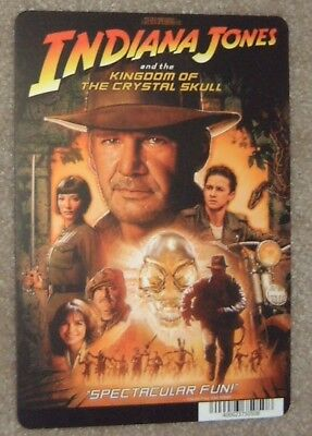 INDIANA JONES AND THE KINGDOM OF THE OF THE CRYSTAL SKULL movie backer card