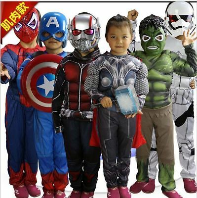 Halloween Party Super Hero Fancy Dress Boys Girls Kids Muscle Costume Cosplay