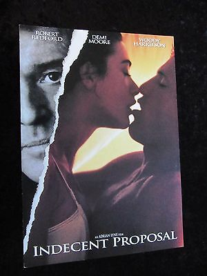 INDECENT PROPOSAL british fold out synopsis sheet DEMI MOORE, ROBERT REDFORD
