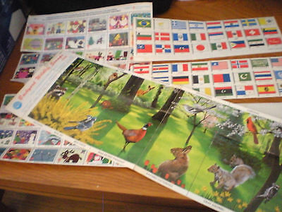 Vintage Lot Easter Seals, Backyard Wildlife & 88 Flags of the World Stamps