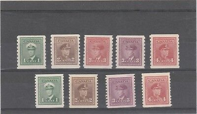 CANADA 1943 KGVI 1 X SG389-393 AND 1 X SG397-398a IMPERF X PERF COIL STAMPS