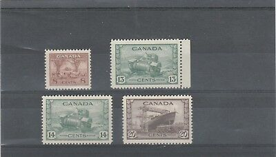 Canada 1942 King George Vi Sg382-Sg386 Selection Of Mnh/mlh Stamps