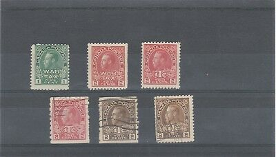 Canada 1915-16 Kgv Sg228-Sg241 Selection Of Mint And Used War Tax Stamps