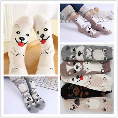 Women Cartoon Socks Dog Animal Printed Cotton Casual Ankle Kawaii Cute Socks New