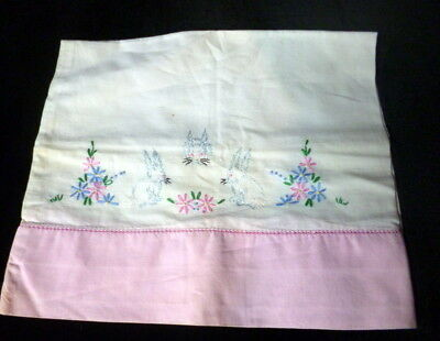 Vintage Baby Pillow Case Sham Embroidered BUNNIES & FLOWERS Unused