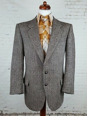 Vintage Brown Herringbone Leather Button Elbow Pad Harris Tweed Jacket -44- EJ66