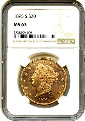 1895-S $20 NGC MS63 - Prooflike Obverse - Liberty Double Eagle - Gold Coin