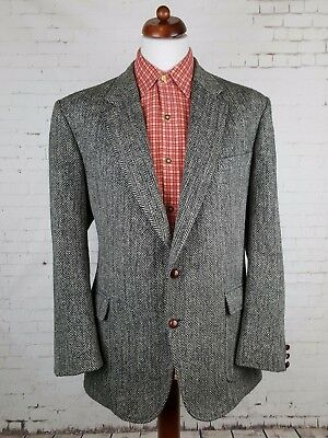 Vintage 1970s 2 Button Herringbone Patch Pocket Harris Tweed Jacket -46- EJ68