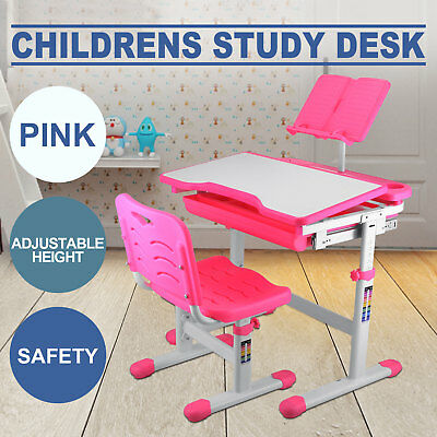 Kids Study Table And Chair ADJUSTABLE HEIGHT READING PAD PINK SAFE LOCAL