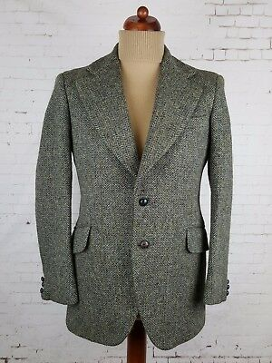 Vintage 1960s 2 Button Green Wide Lapel Thick Harris Tweed Jacket -40- EJ69