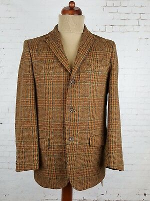 Vintage 1960s 3 Button Brown Country Check Harris Tweed Jacket -38- EJ70
