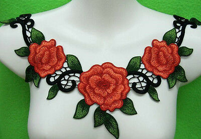 FREE SHIP Flower Leaf Applique Rusty Red Satiny Rose Neckline Embroidery