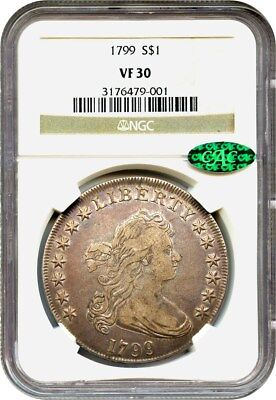 1799 $1 NGC/CAC VF30 - Great Bust Dollar Type Coin - Bust Silver Dollar