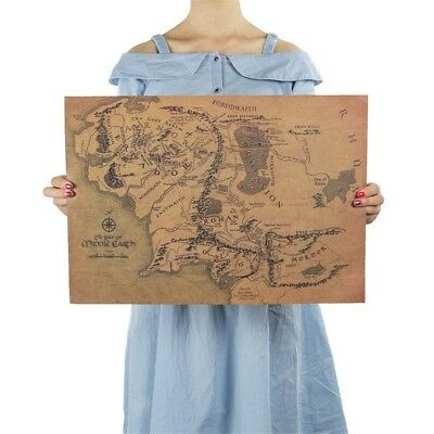 New Middle Earth Map On The Lord of The Rings Poster Home Decor Wall Sticker