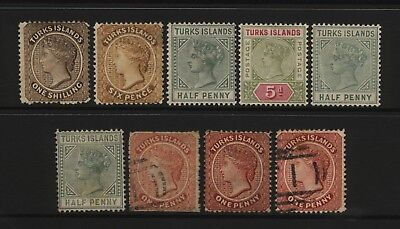 Turks Islands Collection 9 QV Stamps Used / Unused Mounted