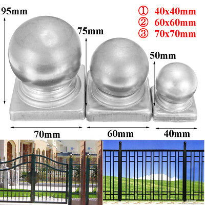 Iron Silver Post Round Gates Cap Fencing decor From 42 mm to 122mm ''Ball Top''