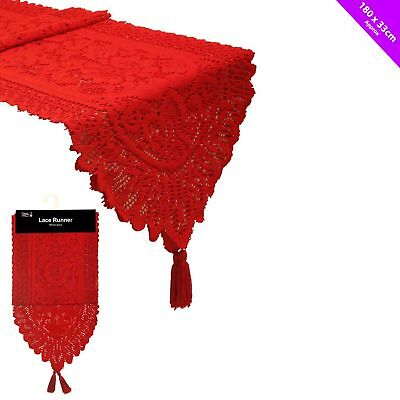 Red Lace Christmas Table Cloth Runner  x 180cm Decoration Washable