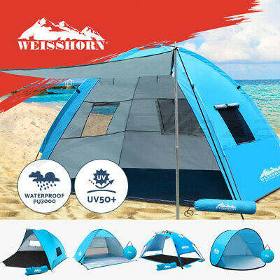 WEISSHORN Pop Up Pole Camping Tent Beach Hiking Shade Shelter Fishing 3-4 Person