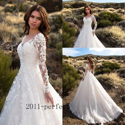Sheer Lace Applique Long Sleeve Bridal Wedding Dress Sexy V Neck Backless A Line