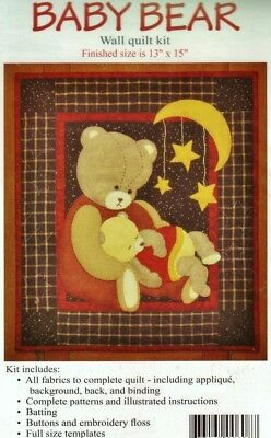"""BABY BEAR WALL QUILT KIT Rachel's of Greenfield 13""""x15"""" Patchwork Applique Teddy"""