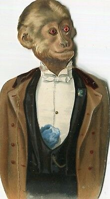 Victorian Christmas Card,shaped ,Stand Up ,Dressed Monkey,Glass Eyes .Pub.TUCK.