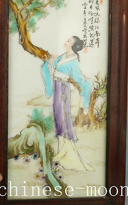 Chinese Porcelain Hand Painting Belle Statue Inlay Wood Wall Decor Ornament