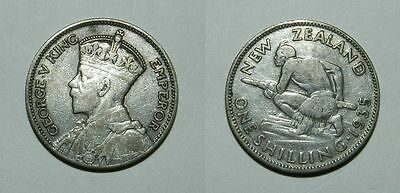 New Zealand : Silver Shilling 1935