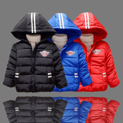 Winter Toddler Baby Kids Boys Hooded Coat Thick Cotton Warm Jacket Parka Outwear