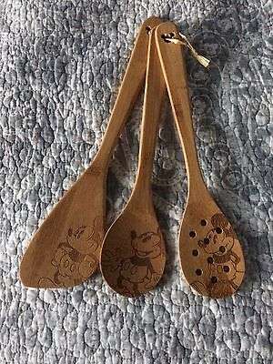 Disney Mickey Bamboo Kitchen Utensils New