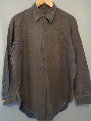 Vtg 40s French brown flecked cotton wool patched hobo smock chore shirt