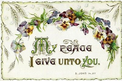 Victorian Religious Motto Card , large,Pansies & Quote.