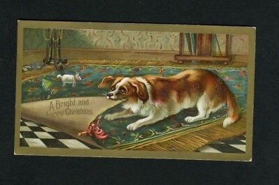 Victorian Christmas Card,Dog pulling Rug with Toys on.1844.