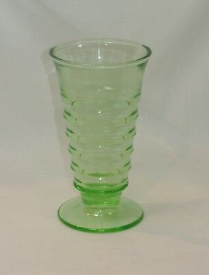 Paden City Glass PARTY LINE Vaseline GREEN Soda Fountain Footed Tumbler 5 7/8 in