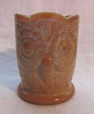 St. Clair Bob Glass Owl Toothpick Holder ( Chocolate Slag )