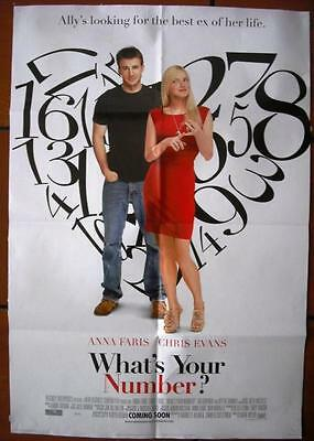 """What's Your Number? {Anna Faris} INT. Original. DS 40""""x27"""" Movie Poster 2011"""