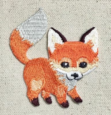 Baby Fox - Natural Animal - Iron On Embroidered Applique Patch