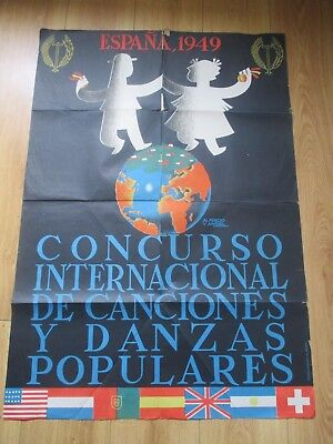 1949 Spain International Contest Of Songs And Popular Dance Large Poster