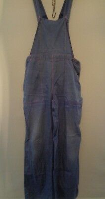 Vtg French 60s blue cotton work trousers bibs overalls dungarees chore pants