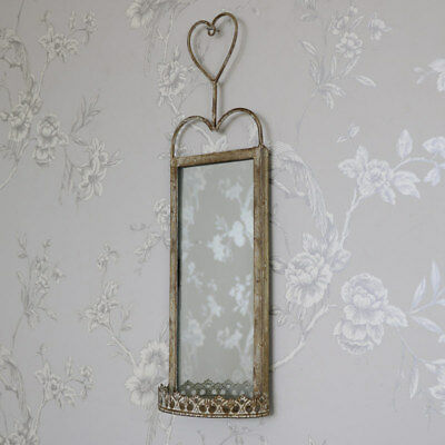 Large metal wall hanging mirror candle sconce shabby vintage chic garden home