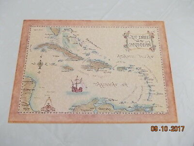 Vintage Hand Finished West Indies And The Caribbean Map - Xandra Fisher
