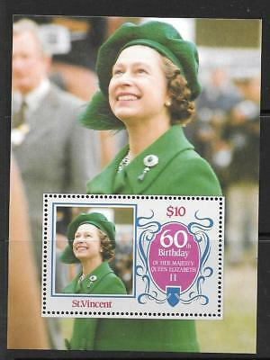 ST.VINCENT SGMS982 1986 60th BIRTHDAY OF QUEEN ELIZABETH  MNH