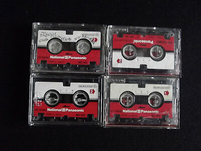 National Panasonic MC60 Microcassette Cassettes 60mins x 4 in cases (Used)