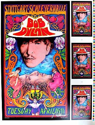 Bob Dylan Rock Poster Proof With 3 Panel Handbill Hand Signed Bob Masse Rare