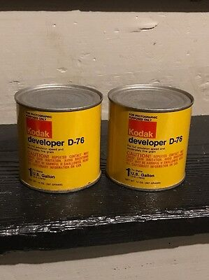 vtg Lot of 2 SEALED Cans of KODAK DEVELOPER D-76 14 oz. To Make 1 Gallon (NOS)