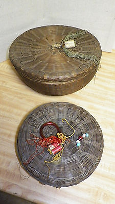 2 antique vintage chinese sewing baskets