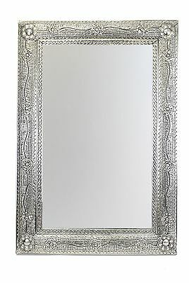 San Miguel Punched Tin Mirror-Silver Tone-Mexican Folk Art-Handmade-27x40 inches