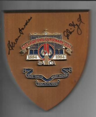 Adelaide Oval Centenary Cricket Plaque 1984 signed by Alan Border & Clive Lloyd
