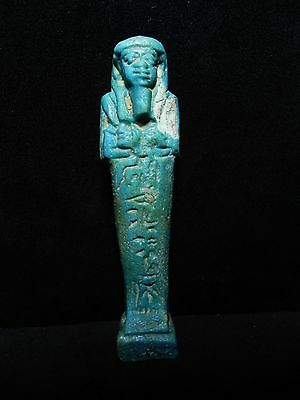 Zurqieh -Ancient Egyptian Faience Ushabti For A Lady, 600 B.c , 4 1/4 ""